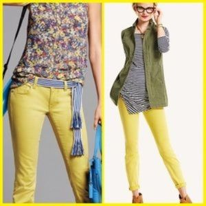 CAbi Limon bree yellow ankle cropped jeans